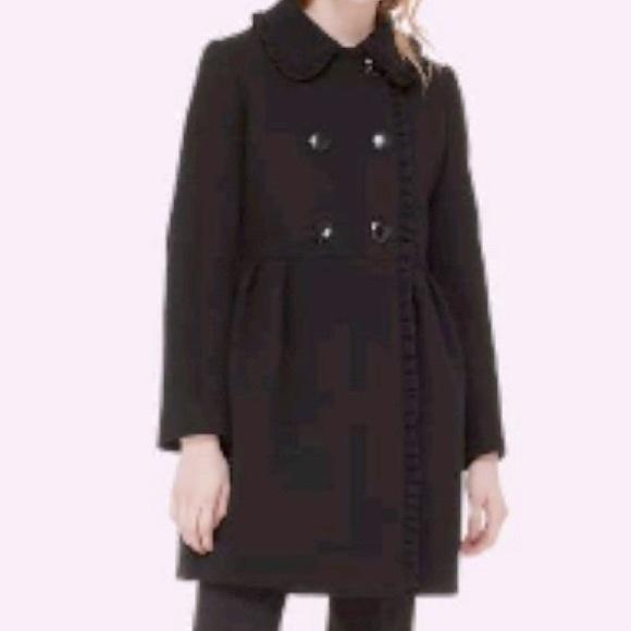Kate Spade Ruffle Trim Bow Back Coat, BLACK, Sz 6